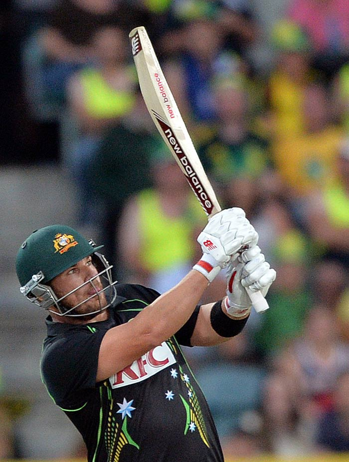 Opener Aaron Finch slammed 52 off 31 balls to give Australia a blazing start in the first T20 at Hobart (All images AFP).