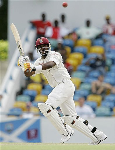 West Indies' batsman Dwayne Bravo plays a shot on the second day of the third and final Test against Australia at Kensington Oval in Bridgetown, Barbados on June 13, 2008.