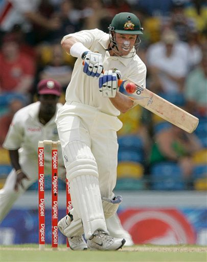 Australia's Michael Hussey plays a stroke during the opening day of the third and final cricket Test match against the West Indies in Bridgetown on Thursday, June 12, 2008.