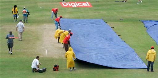 Grounds keepers pull a second tarpaulin over the wicket as a light rain continues to delay the start of the international Twenty20 cricket match between Australia and the West Indies at Kensington Oval in Bridgetown on Friday, June 20, 2008.