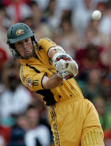 Australia's Luke Ronchi hits a four during the international Twenty20 cricket match against the West Indies at Kensington Oval in Bridgetown on Friday, June 20, 2008. The West Indies won by seven wickets in the 11-overs-per-side reduced match due to rain.