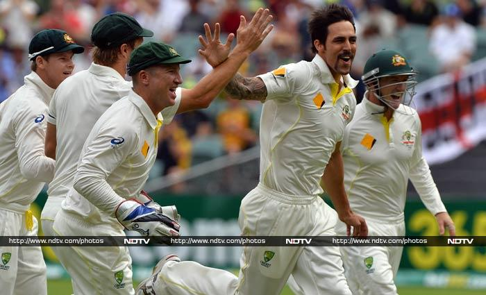 Mitchell Johnson, destroyer-in-chief on Day 4, was at it again with his ferious bouncers. (AFP image)