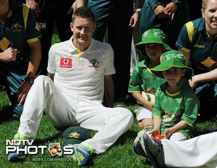 Captain Michael Clarke poses with junior cricketers. He is believed to have shared some of his tips with the budding talent.