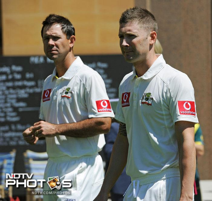 Ricky Ponting is seen here with Clarke. He was recently quoted by section of the press as saying that Clarke has been maturing as a captain and that he is proving himself to be a worthy successor.
