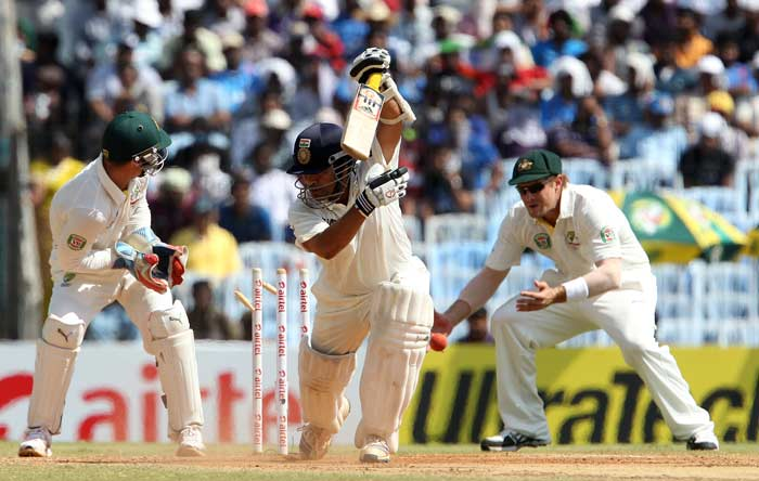 Sachin looked to continue but was outfoxed by Nathan Lyon's first delivery of the day. The ball jagged back, took the inside edge of his bat and crashed into the stumps. <br><br> Sachin out on 81. (BCCI image)