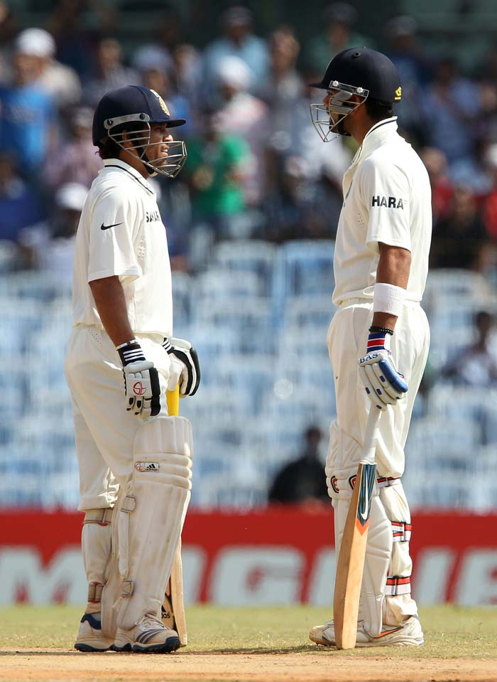 Sachin Tendulkar and Virat Kohli began proceedings with both batsmen well set and looking to build on their respective fifties. (BCCI image)