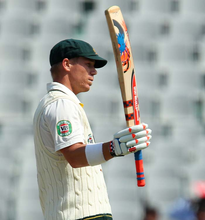 Warner completed his fifty in the dying minutes of the opening session as his team ended on 109/0. (Image courtesy: BCCI)