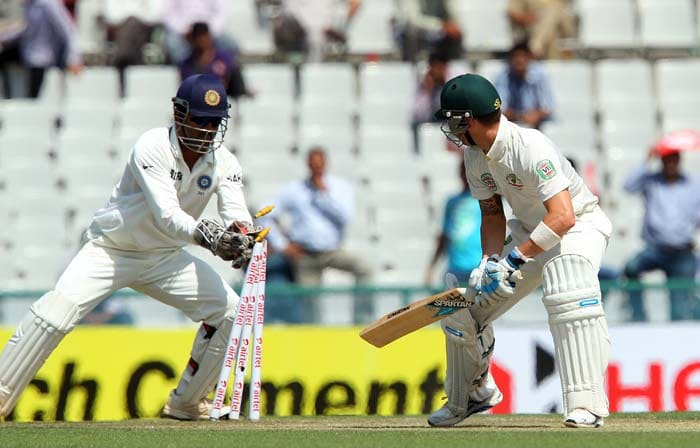India did not have to wait for their second success even a moment.<br><br>Australia skipper Michael Clarke replaced Warner and found himself stumped off the first delivery he faced. (Image courtesy: BCCI)