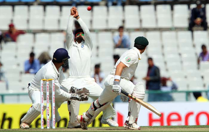 Indian fielding in the inner-circle though was not a cent-percent as there were several chances which were put down. Australia lost one more wicket - Phil Hughes (not seen here) - and took tea at 180/3. (Image courtesy: BCCI)