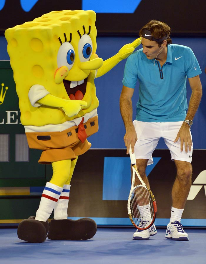 Roger Federer has warned that he is ready for more glory and that his quiet start to 2013 should not be taken lightly.<br><br> Sponge Bob here shows he completely agrees with the legendary player.