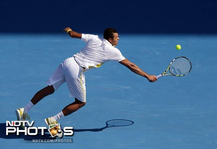 Jo-Wilfred Tsonga is seen in action here against compatriot Richard Gasquet. <br><br>The seventh-seed won 6-4, 3-6, 6-3, 6-2.