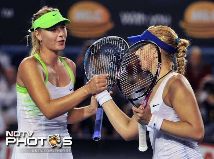 Russia's Maria Sharapova battled back from a set down to beat Germany's Sabine Lisicki. With the win, she reached the Australian Open quarter-finals, her best performance since lifting the title in 2008.
