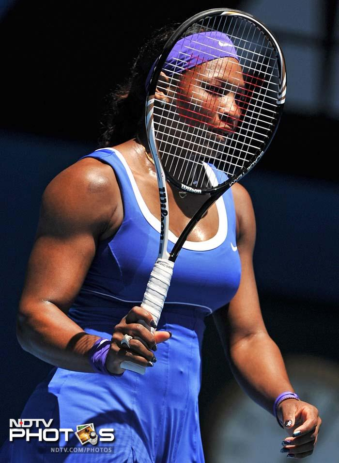 Serena Williams may look a little low here but she had no trouble in defeating Barbora Zahlavova Strycova 6-0, 6-4.