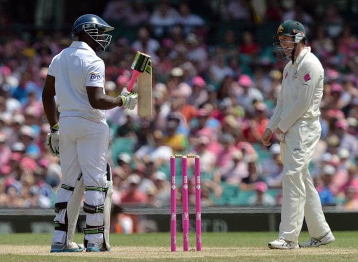 England were set a stiff target of 448. However, just like Michael Carberry's bat, their spirit was broken and they crumbled for 166.