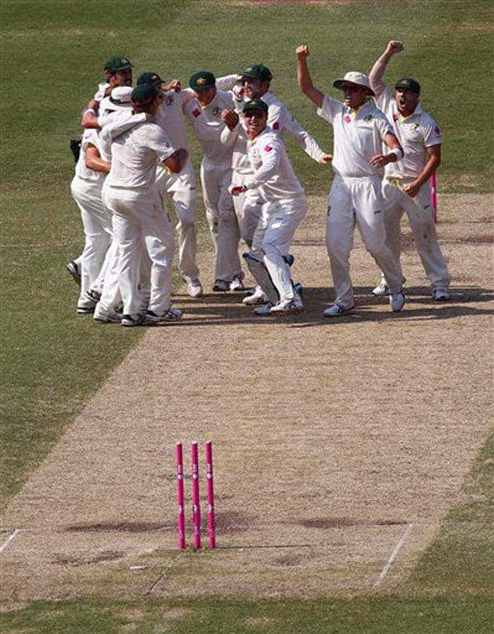 As soon as the final wicket fell, the Aussies belted out their 'sacred' team song in the center of the pitch!