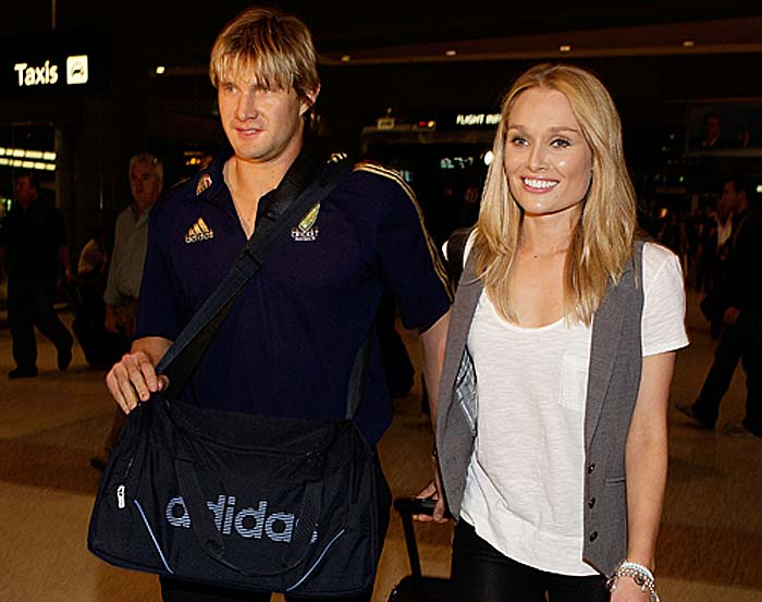 <b>Shane Watson:</b> Is unlikely to play against India but the all-rounder will have TV presenter Lee Furlong for company. Voted one of the hottest cricketers in Australia, Watson has an equally hot woman by his side for company.