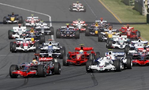 McLaren Mercedes Formula One driver Lewis Hamilton of Great Britain leads the field into turn one at the start of the Australian Grand Prix at the Albert Park circuit in Melbourne on Sunday, March 16, 2008.