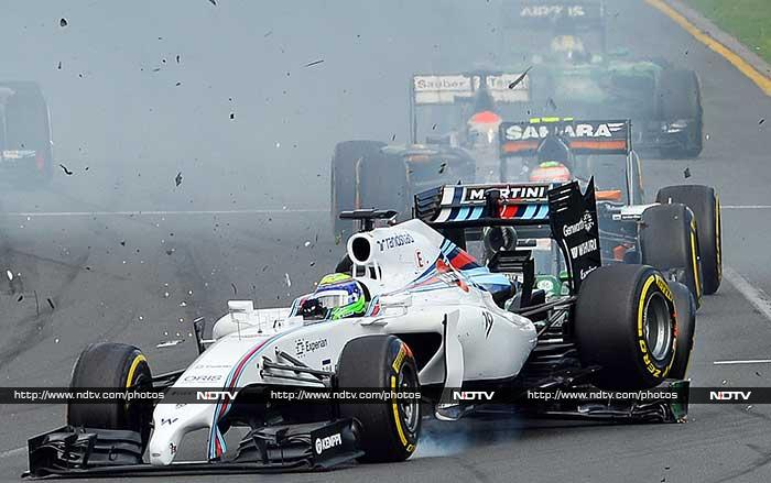 Felipe Massa and Kamui Kobayashi came off together at the first bend and were out of the race.