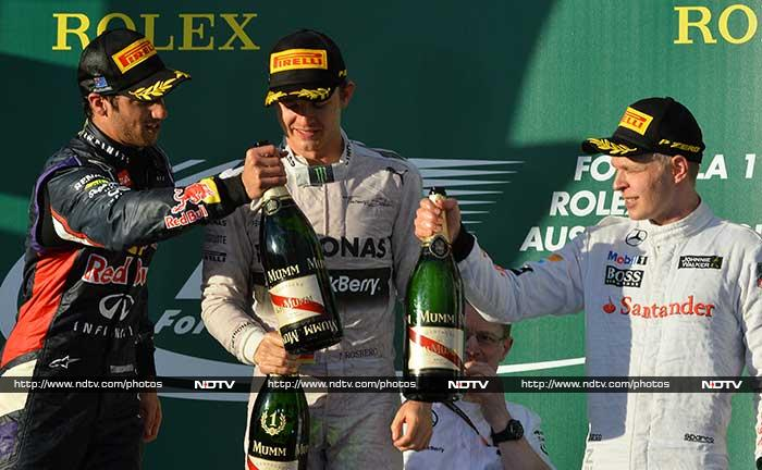 Mercedes' Nico Rosberg beat Australian Daniel Ricciardo, who placed second in his first drive for Red Bull, with McLaren debutant Kevin Magnussen impressively taking third in an exhilarating race in Melbourne. (All AP and AFP images)