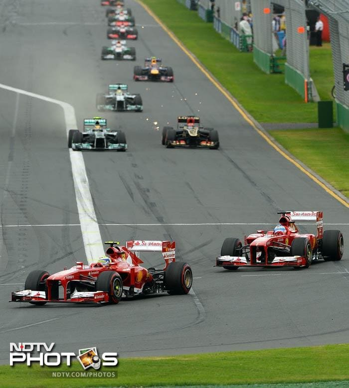 Fernando Alonso of Ferrari was second. The Spaniard looked to be a chance of winning when he trailed Raikkonen by 6.2 seconds with 12 laps to go, but could not make up ground.<br><br> Ferrari's Felipe Massa was fourth, ahead of Lewis Hamilton in his first race for Mercedes and Australian local favorite Mark Webber of Red Bull.