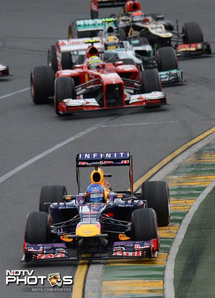 Pole sitter and three-time reigning world champion Sebastian Vettel finished third in his Red Bull. He was forced to pit after just seven laps due to worn super-soft tires and never threatened thereafter.