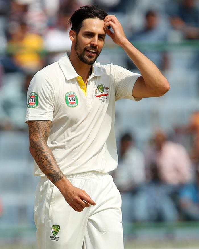 Mitchell Johnson, playing the test in place of injured Starc, was impressive to start with, clocking well over 145 kms/hr. He did go for a few runs though. (BCCI Image)