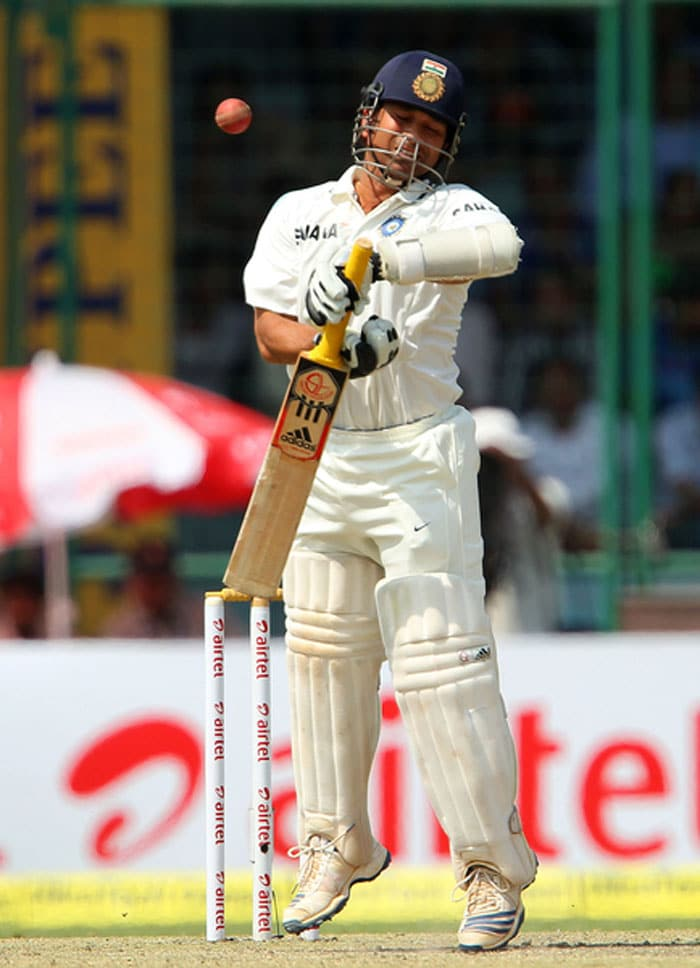 Sachin Tendulkar came in to a great round of applause as always but never looked comfortable on the crease from the beginning, especially to the impressive Lyon. He survived a huge lbw appeal off the same bowler (It definitely was out), he skipped, hopped and jumped at the crease and finally was removed by Lyon lbw. Indian batting looked fragile, for once. (BCCI Image)