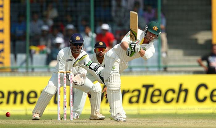 Phil Hughes, already well under the scanner, then counter-attacked to rattle India. Ed Cowan meanwhile stayed calm as ever. Hughes scored a quick-fire 45 off 59 balls before becoming Ishant's second victim. (BCCI Image)