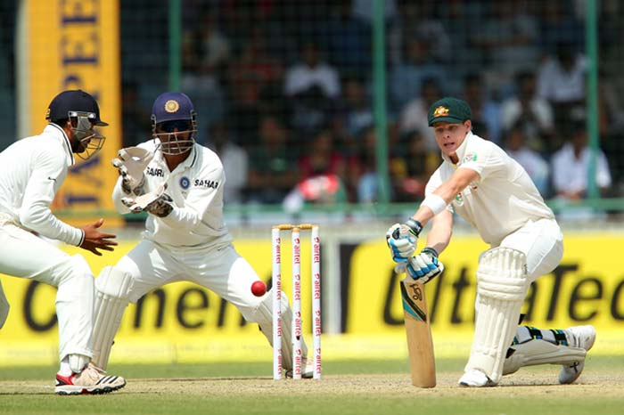 Steve Smith, who had impressed all and sundry in the Mohali Test, was at his best again. His mix of aggression and defence defied Indian spinners. Smith and Peter Siddle added 53 runs together before the former was take an forward short leg by debutant Rahane off Ashwin. He looked extremely disappointed but for the dismissal mode and not the decision. (BCCI Image)