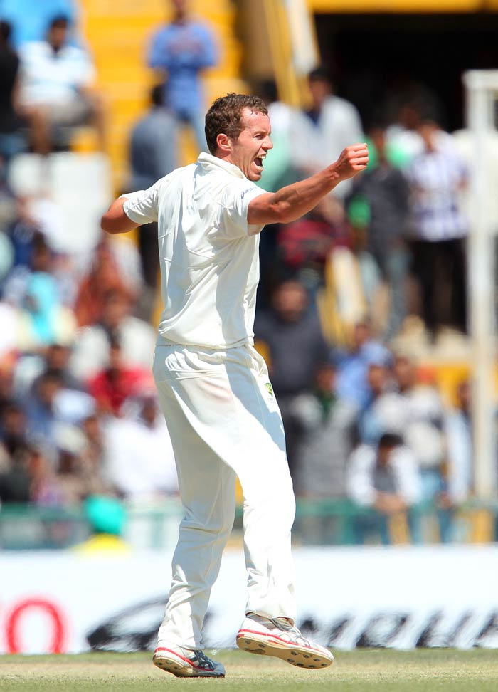 The major problem for Australia has been that while Indian bowlers have performed in tandem, the Aussie bowlers have failed to do so. Peter Siddle was exceptional with his five-for but Nathan Lyon and Mitchell Starc only impressed in patches. Doherty, Smith and Henriques looked pedestrian at best. (BCCI Image)