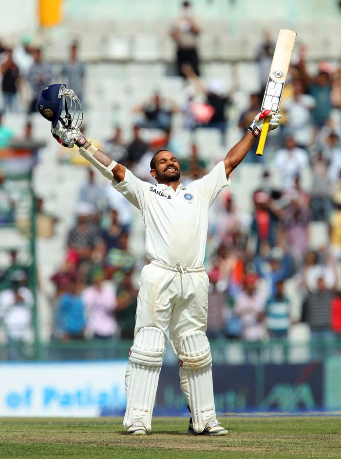 After scoring 408 in their first innings, Australia would have thought that they would at least not lose the game. A whirlwind innings from debutant Shikhar Dhawan though changed the complexion altogether. India raced along at around 5 runs an over as Dhawan and Vijay broke several record en route their 289-run stand. Dhawan cracked a quickfire 187 off 174 balls. (BCCI Image)