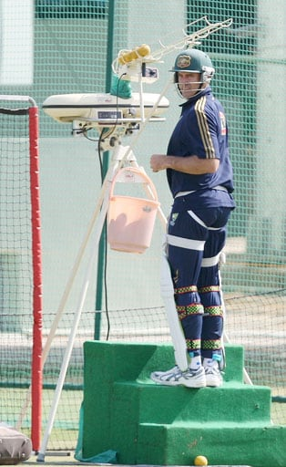 Matthew Hayden takes part in a training session in Jaipur.