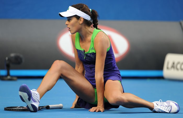 Serbia's Ana Ivanovic was quick to get up after her disastrous slip.