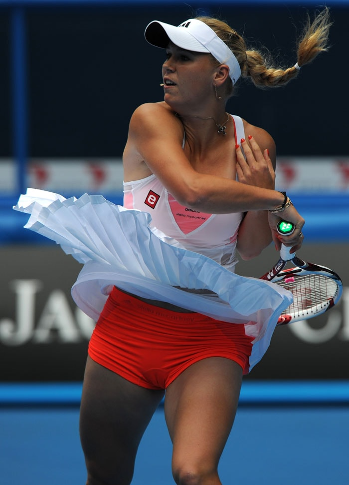 Caroline Wozniacki (Denmark) shows off her Adidas-Stella McCartney tennis shorts during her women's singles match.