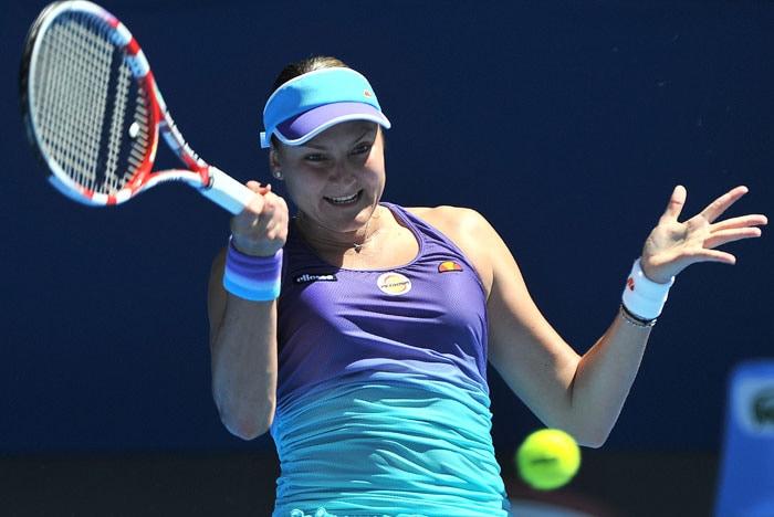 Nadia Petrova (Russia) gets cute on the court.