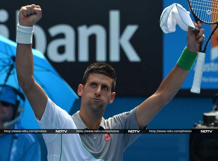Novak Djokovic stayed on track for a fourth consecutive Australian Open singles title with a 6-0, 6-4, 6-4 win over Leonardo Mayer of Argentina.