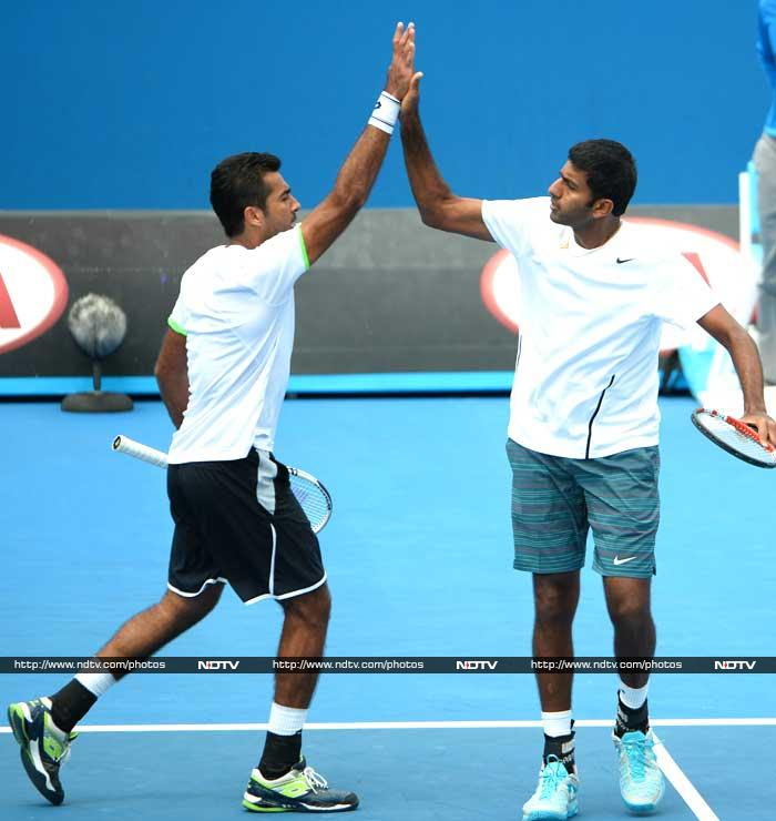 Rohan Bopanna emerged victorious in both men's doubles and mixed doubles. With Pakistani partner Aisam-Ul-Haq Qureshi, the Indian rallied to beat the British pair of Colin Fleming and Ross Hutchins 4-6 6-3 6-2 in men's doubles second round.