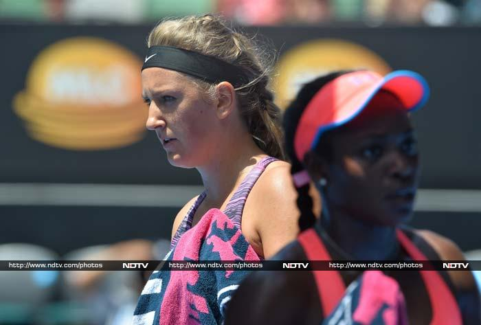 Victoria Azarenka blasted past young American Sloane Stephens and into the quarter-finals as the defending champion started hitting top form.