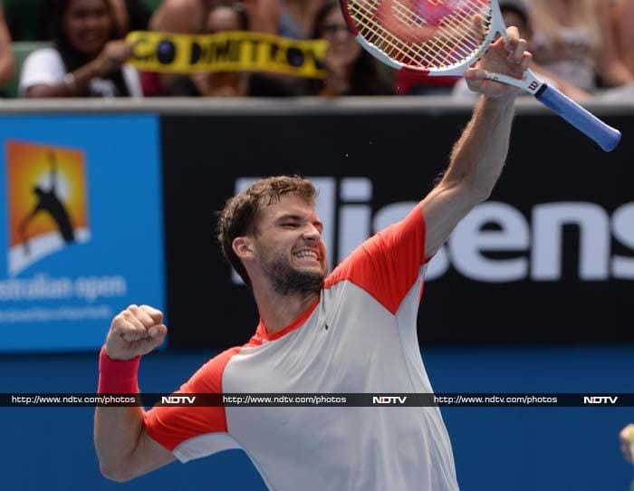 """Grigor Dimitrov became the first Bulgarian man to qualify for a Grand Slam quarter-final with victory. The 22nd seed, nicknamed """"Baby Fed"""" because his game resembles Roger Federer's, ousted unseeded Spaniard Roberto Bautista Agut 6-3, 3-6, 6-2, 6-4 in two hours 24 minutes."""