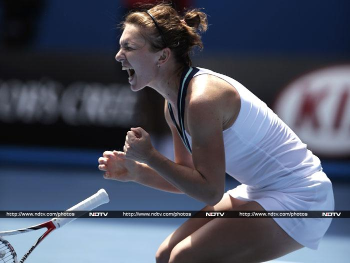 Simona Halep roared back from a mid-match wobble against former world number one Jelena Jankovic to fulfil a dream and reach her first Grand Slam quarter-final.