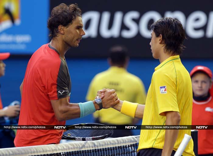 World number one Rafael Nadal fought off a spirited challenge from Japan's Kei Nishikori to win through to the quarter-finals. The Spaniard won 7-6 (7/3), 7-5, 7-6 (7/3) in three hours 17 minutes and will play Bulgaria's Grigor Dimitrov in the last eight.