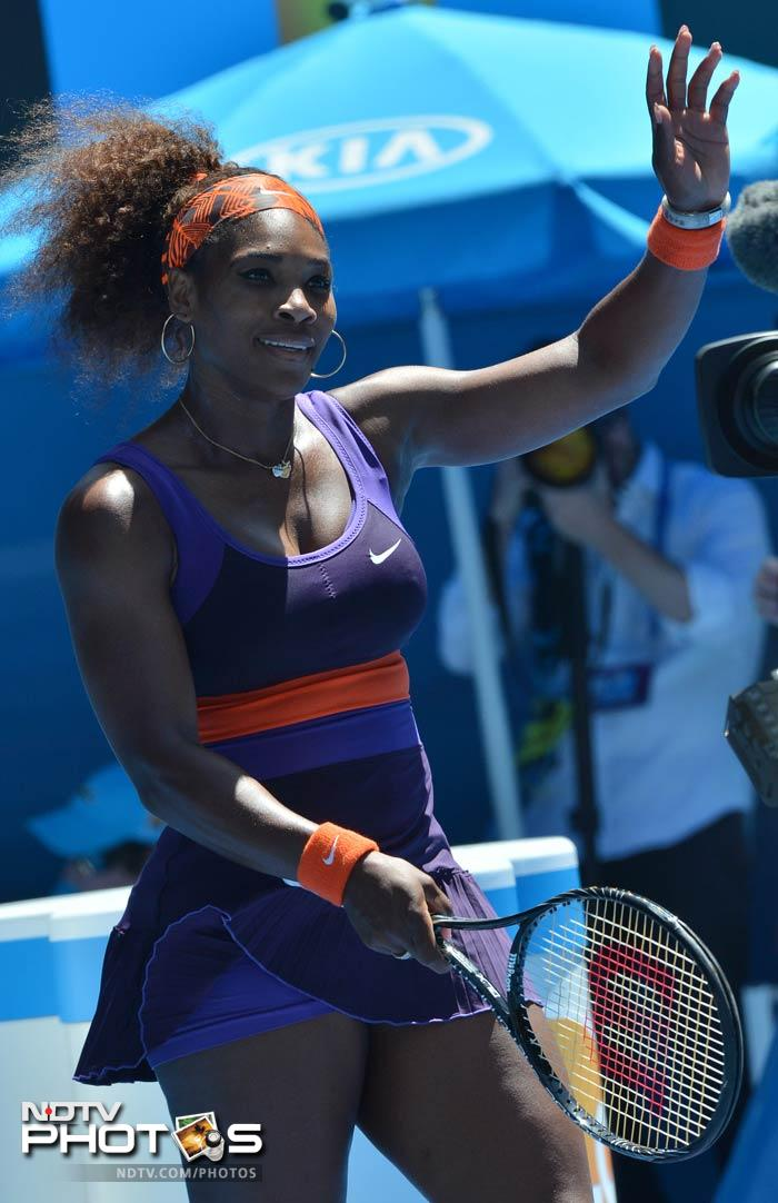 Serena Williams, eyeing a calendar-year Grand Slam, was broken for the first time in the tournament by Japanese number one Ayumi Morita, before recovering from 0-3 down in the second set to win 6-1, 6-3.
