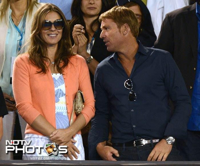 Warne and Hurley were watching the Roger Federer vs Tomas Berdych match.