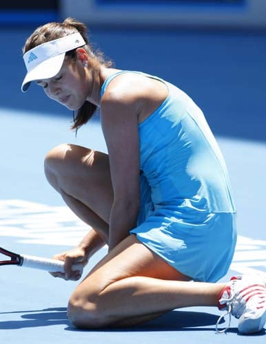 Serbia's Ana Ivanovic reacts as she plays Russia's Maria Sharapova during the final of the Women's singles at the Australian Open tennis tournament in Melbourne on Saturday, January 26, 2008.