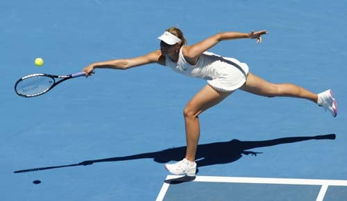 Russia's Maria Sharapova returns to Serbia's Ana Ivanovic during the final of the Women's singles at the Australian Open tennis tournament in Melbourne on Saturday, January 26, 2008.
