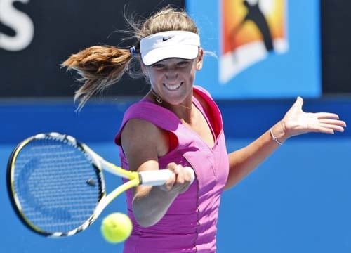 Victoria Azarenka of Belarus plays a return to Germany's Sandra Kloesel during a second round Women's singles match at the Australian Open tennis championships in Melbourne on Wednesday, January 16, 2008.