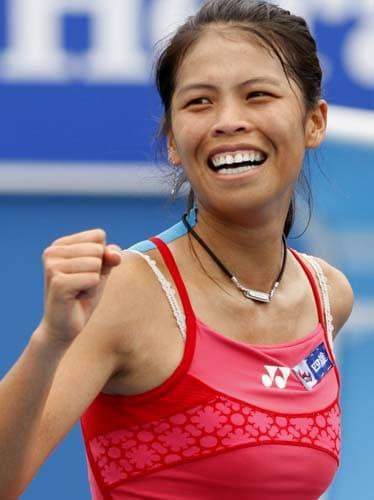 Hsieh Su-Wei of Taiwan celebrates after beating Aravane Rezai of France during their Women's singles third round match at the Australian Open tennis championships in Melbourne on Friday, January 18, 2008.