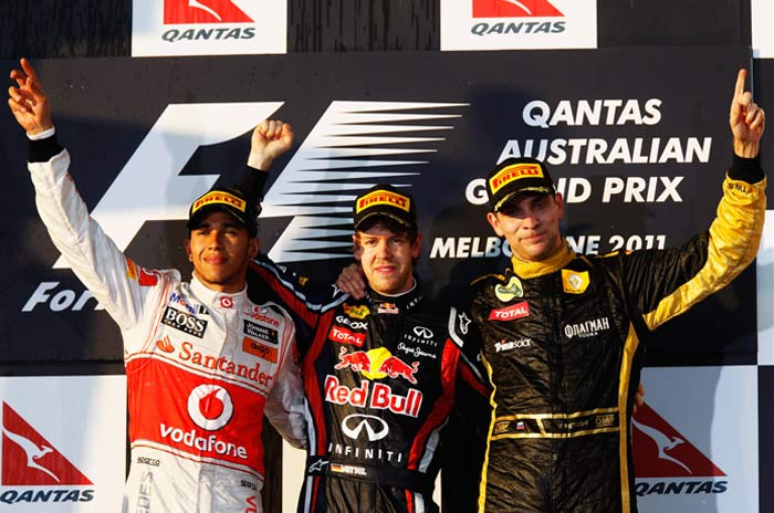 McLaren's Lewis Hamilton (2nd) and Renault's Vitaly Petrov (3rd) were the other drivers to finish on the podium.