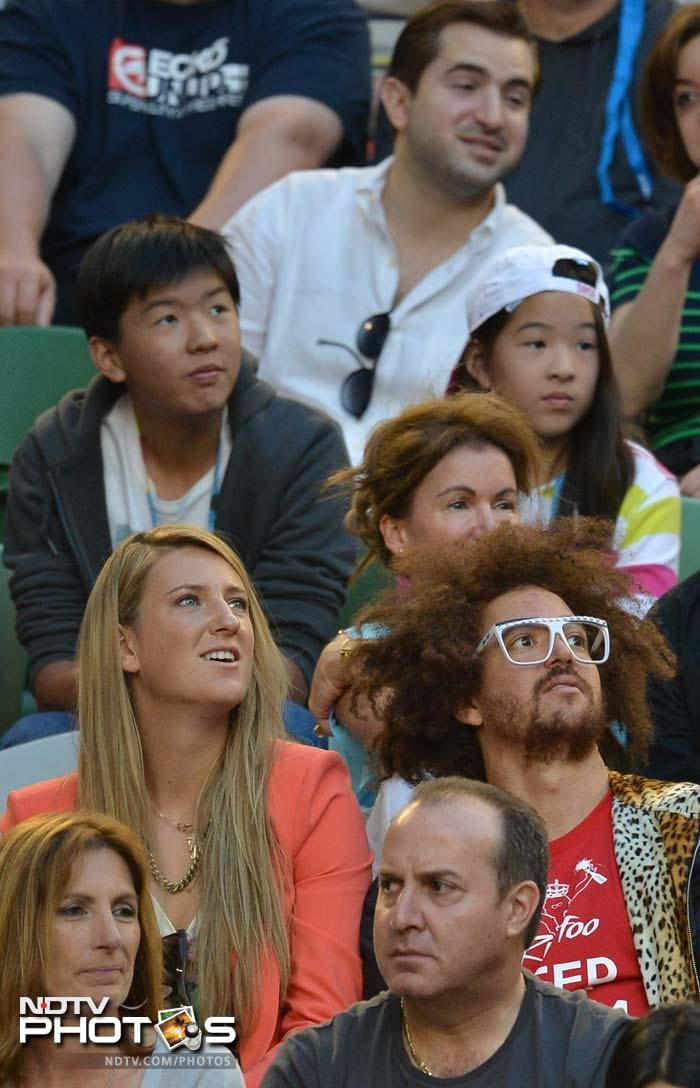 A day earlier, Victoria Azarenka had defended her title. On Sunday, she was present for the men's match with rumoured boyfriend Redfoo.