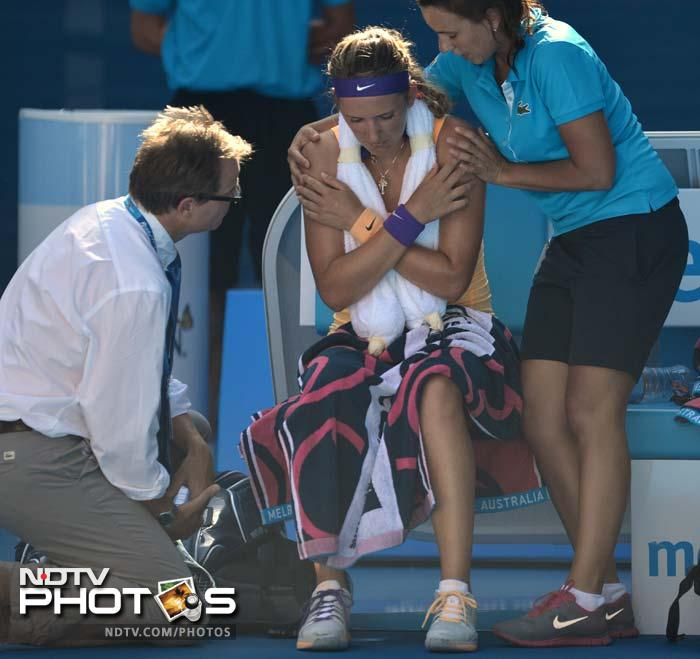 """Azarenka however found herself in the eye of a storm.<br><br>The increasingly flummoxed world number one had just lost five match points when she called for the trainer and went off the court for 10 minutes. She returned and broke Stephens to win 6-1, 6-4, and said she had avoided the """"choke of the year."""""""
